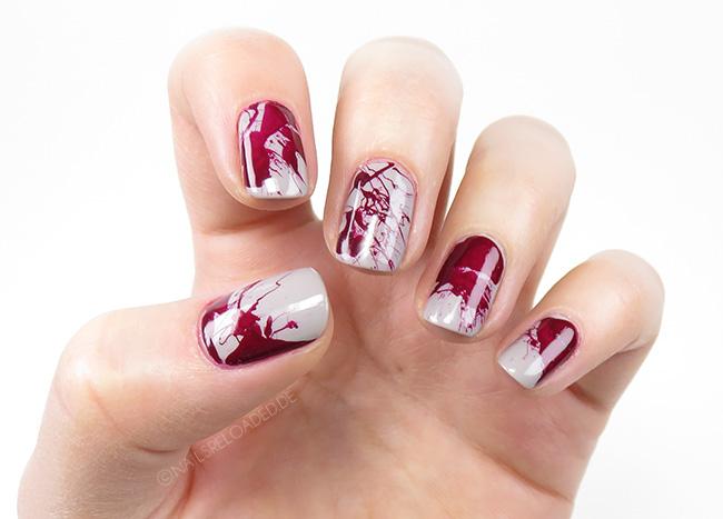Nageldesign - Blutspritzer zu Halloween