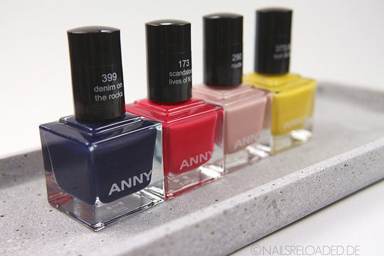 Nagellack Anny: 399 denim on the rocks, 173 scandalous lives of N.Y., 290 nude, 373.90 sun and fun