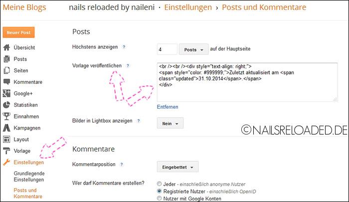 Blogger / Einstellungen / Posts und Kommentare / Vorlage