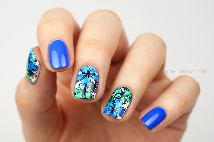 Nageldesign - watercolor flowers