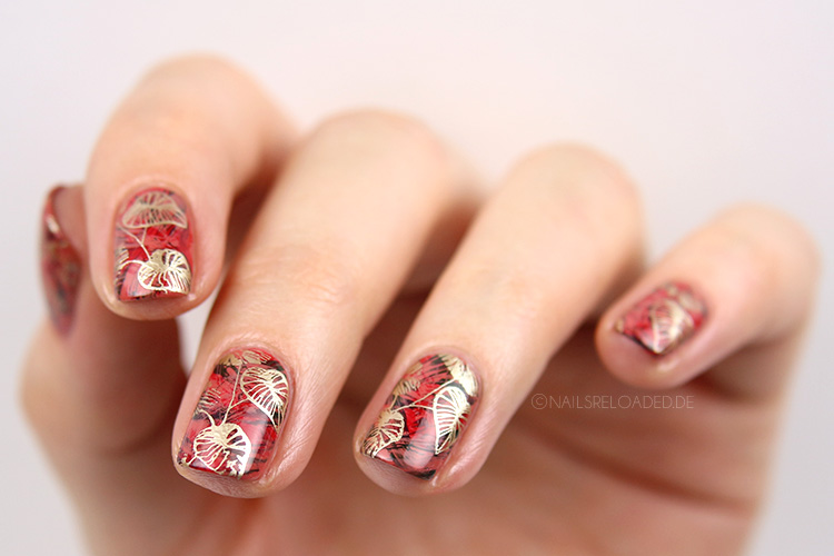 Herbstliches Nageldesign dry brush Stamping