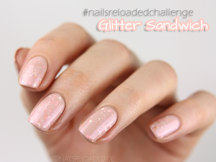 Nageldesign glitter sandwich