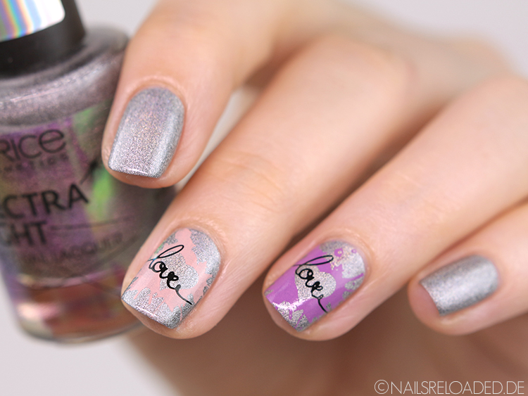 Nageldesign Stamping Love