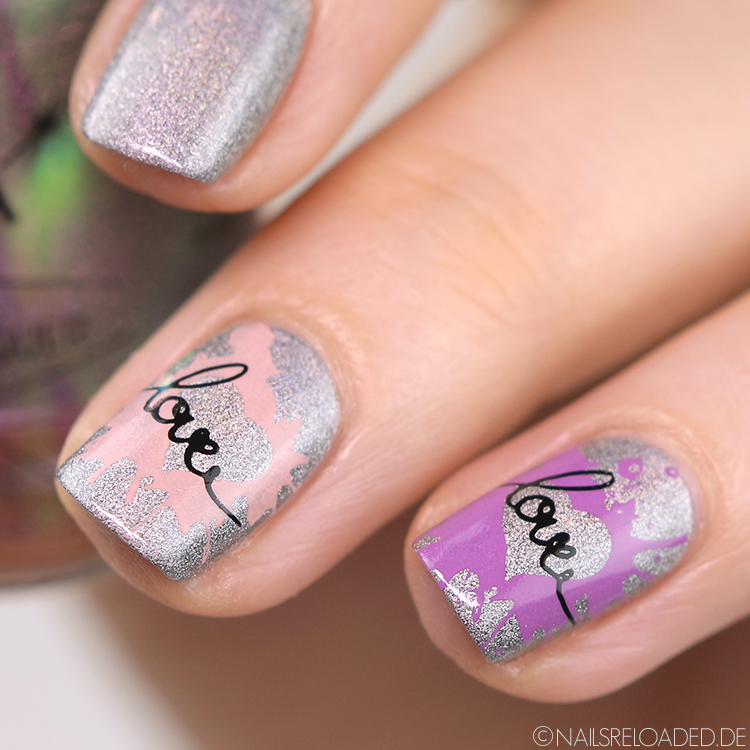 Nageldesign Streetart Love Stamping